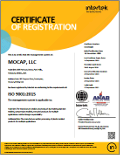 ISO 9001:2015 Certificate of Registration, MOCAP Park Hills, MO and Farmington, MO